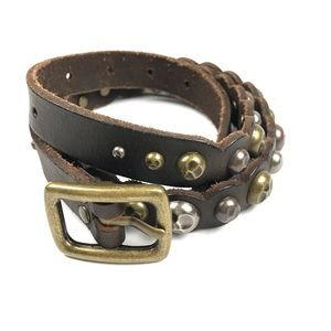 Accessories - Brown Leather Belt Hammered Studded Rivets